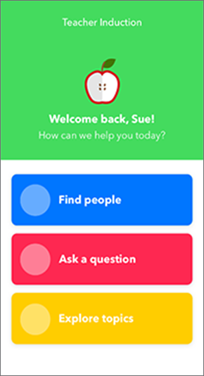 Welcome screen of the app with three options for user: Find People, Ask a Question, Explore Topics.